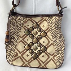 Fossil Brown Beige Canvas Crossbow Bag Embellished